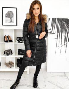 ciepły, pikowany płaszcz damski zimowy